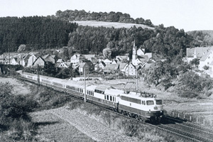 The Rheingold with behind the E 10.12-13 locomotive the panorama coach and the eye-catching dining coach