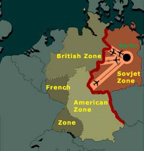 This is how Germany was split up after the war in four different zones. The thick red lines represents the later so-called iron curtain.